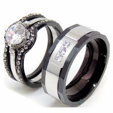 couples rings set images Couple ring set women black stainless steel promise ring mens 3 jpg