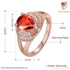 rose zircon rings images High quality 18k rose gold plated finger ring for women party ruby jpg