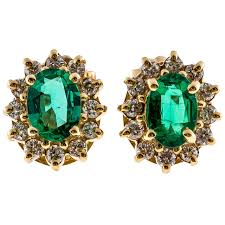 green stud earrings 1 80 carat green emerald diamond yellow gold stud earrings at 1stdibs
