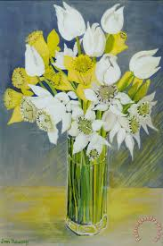 Glass Vase Painting Joan Thewsey Daffodils And White Tulips In An Octagonal Glass Vase