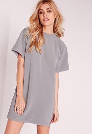 grey short sleeve oversized sweater dress missguided