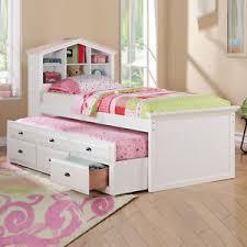 white girls kids house shaped bookcase headboard combo trundle 3