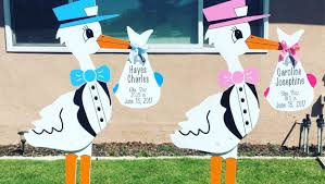 lawn stork for rent in los angeles baby u0027s birthday announcement