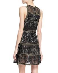 elie saab embellished cocktail dress with velvet ties black gold
