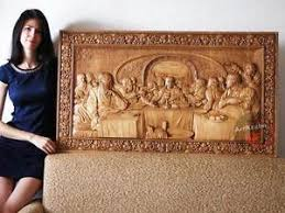 last supper 3d orthodox wood carved religious icon large jesus