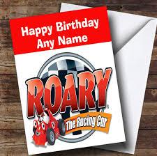 roary racing car personalised children u0027s birthday card