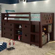 Kids Room Dark Wood Captains Loft Bunk Bed With Drawers And - The brick bunk beds
