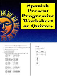 spanish present progressive worksheet or quiz summative