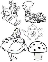 coloring pages kids alice in wonderland tea party coloring pages