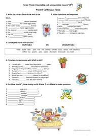 test food countable and uncountable nouns countable and