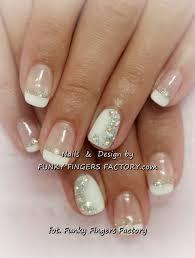 gelish french manicure with aurora borealis swarovski crystals by