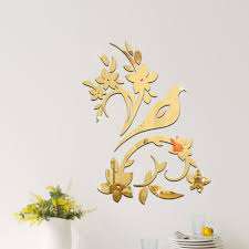 Mural Stickers For Walls 3d Gold Silver Mirror Flower Wall Sticker Home Office Mural