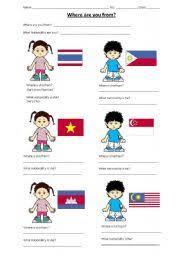 english worksheets southeast asian nationalities