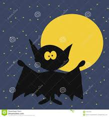 halloween bat with moon on night sky background stock vector