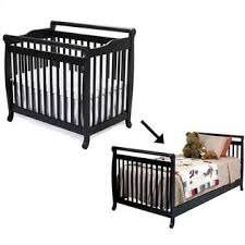 Crib Converts To Bed Davinci Emily Mini 2 In 1 Convertible Crib With Bed Rails In