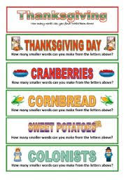 thanksgiving how many smaller words can you make 3 pages