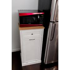 Microwave In Kitchen Cabinet by 23 3 In W Microwave Kitchen Cart With Hideaway Trash Can Holder