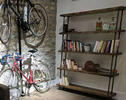 and wood steel and wood bookcase pipe and wood bookshelf rustic