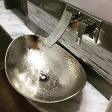 hammered nickel bathroom sink sinkology hobbes 19 hand crafted hammered nickel vessel sink