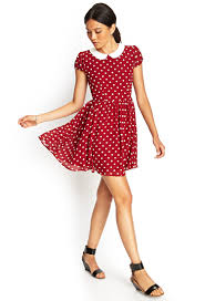 forever 21 polka dot fit u0026 flare dress in red lyst