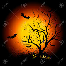 halloween night background halloween night background with tree pumpkin bat and grass royalty