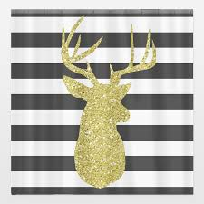 Deer Shower Curtains Gold Glitter Deer Head Art Print By Emdesigns On Boomboomprints