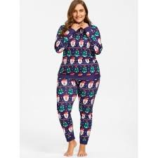 purple 5xl santa claus tree plus size pajamas set