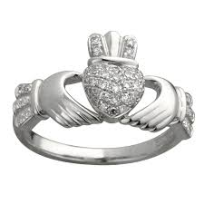claddagh engagement ring fallers rings 14k white gold diamond claddagh ring fallers