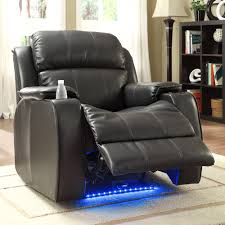 Brown Leather Recliner Chair Homelegance Jimmy Power Reclining Chair W Massage Led U0026 Cup