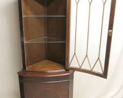 Mahogany Display Cabinets With Glass Doors by Corner Cabinet Etsy