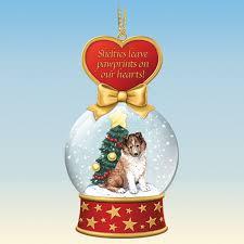sheltie snow globe ornaments the danbury mint