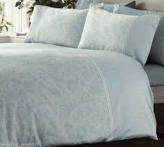 Duck Egg Blue Duvet Sets Double Bed Duvet Cover Set Lace Effect Blue 300 Thread Count