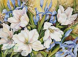 white tulips white tulips and blue iris cross stitch pattern flowers