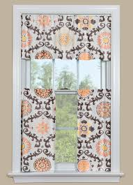 Large Floral Print Curtains Modern Floral Kitchen Curtains In Orange Yellow And Brown