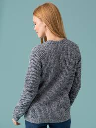 s sweater in a mottled cotton wool and cardigan stitch