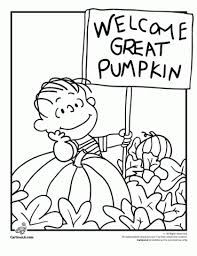 linus waiting for the great pumpkin coloring page