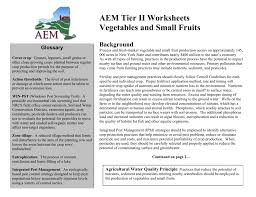 aem tier ii worksheets vegetables and small fruits background
