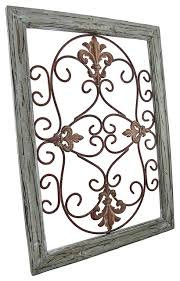 Iron Wrought Wall Decor Distressed Wooden Green Frame Wrought Iron Fleur De Lis Wall Decor
