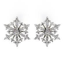 diamond stud earrings uk 18ct white gold 0 57ct snowflake diamond stud earrings