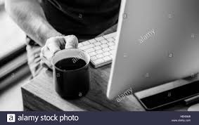 Home Office Concept Man Busy Photographer Editing Home Office Concept Stock Photo