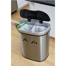 Tall Trash Can by Nine Stars 18 5 Gallon Motion Sensor Recycle Unit And Trash Can
