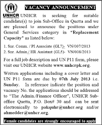 unhcr jobs in quetta pakistan 2013 june july communication pi