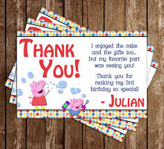 novel concept designs peppa pig birthday party thank you card
