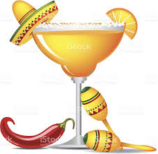 alcoholic drinks clipart margarita with sombrero jalapeño and maracas stock vector art