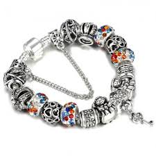 bracelet charm beads silver images Silver plated 925 crown key crystal heart charm beads pandora jpeg
