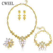 crystal ring necklace images Cweel african jewelry set gold color filled white imitated blue jpg