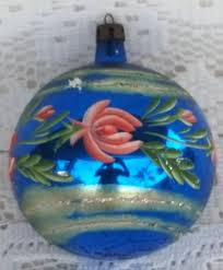 vintage glass christmas tree ornament blue pink floral hand