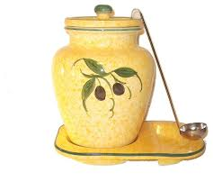 yellow kitchen canisters 1 gallon ceramic olive themed container yellow mediterranean
