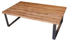 custom industrial modern metal and reclamed wood coffee table by