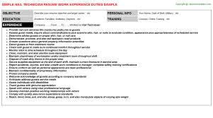 Example Resume For Maintenance Technician by Nail Technician Resume Sample